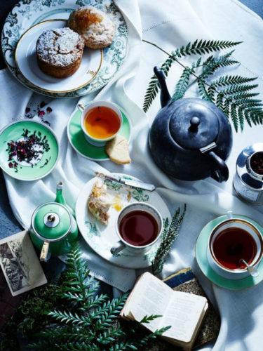 mesa de chá da tarde