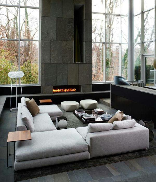 Lareiras aconchegantes para o inverno - Inspiração de décor para living com larareira 12
