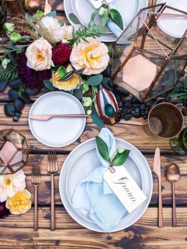 mesa para o jantar no inverno