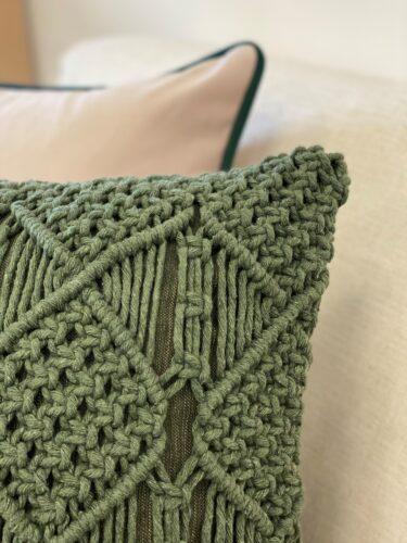 Almofada Macramê verde